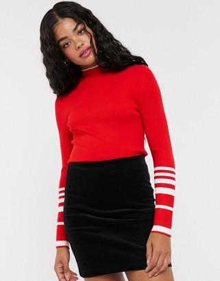 Pimkie stripe panel tight fit jumper in red