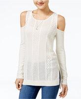 Jessica Simpson Ciro Pointelle-Knit Cold-Shoulder Sweater