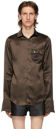 Ludovic de Saint Sernin Brown Eyelet Pocket Skinny Shirt