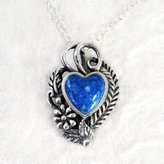"Sosi B. Sterling Silver Ornate Heart on Extendable Chain 16-18"" Necklace, Denim Lapis"