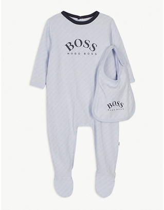 HUGO BOSS All-over logo cotton all-in-one and bib set 1-18 months