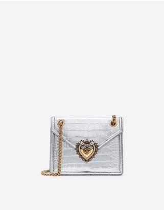 Dolce & Gabbana Medium Devotion Bag In Laminated Crocodile Print