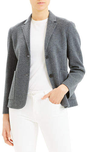 Theory Wool-Cashmere Shrunken Double-Face Two-Button Jacket
