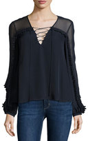 Haute Hippie Long-Sleeve Silk Lace-Up Blouse, Midnight