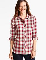 Talbots Ruffled Yuletide Plaid Shirt