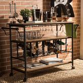 Baxton Studio Bradford Industrial Style 2-Shelf Black Textured Finish Metal Distressed Wood 4-Wheeled Wine Cart in Brown