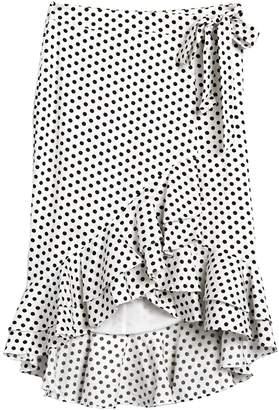 Tularosa Verionica Polka Dot Ruffle High/Low Wrap Skirt