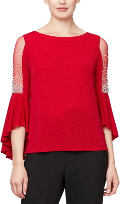 Alex Evenings Beaded Illusion Inset Bell Sleeve Blouse