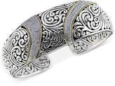 Effy Balissima by Diamond (5/8 ct. t.w.) Swirl Pattern Hinged Cuff Bracelet in Sterling Silver & 18k Gold