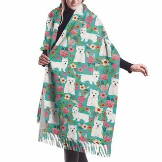 Gjhj West Highland Terrier Women Large Warm Cashmere Blanket Scarf Tassel Pashmina Shawl Wrap