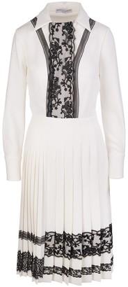 Ermanno Scervino Midi Dress In White Cady And Black Lace