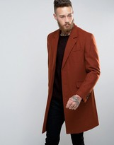 Asos Wool Mix Overcoat In Rust