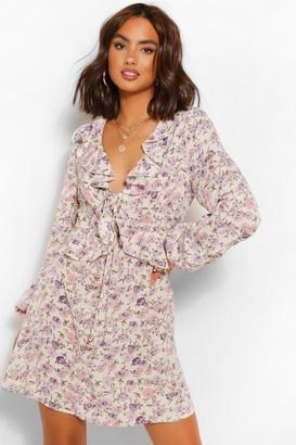 boohoo Floral Print Detail Smock Dress