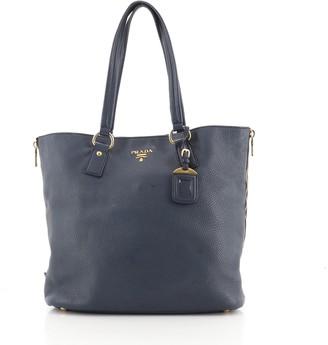 Prada Zip Around Tote Bag Vitello Daino Large