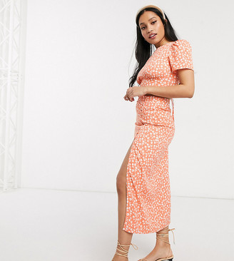 Fashion Union Petite midi skirt with thigh split in floral two-piece