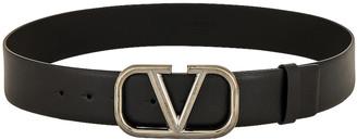 Valentino V Logo Belt in Black   FWRD