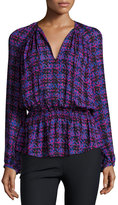 Derek Lam 10 Crosby Long-Sleeve Printed Silk Blouse, Cobalt/Multicolor
