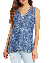 KUT from the Kloth Lace Plaid V-Neck Sleeveless Top