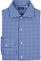 Finamore Men's Poplin Gingham Shirt-NAVY