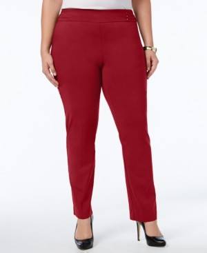JM Collection Plus Size Tummy Control Pull-On Slim-Leg Pants