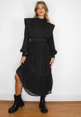 Missguided Black Star Print Shoulder Pad Midi Dress