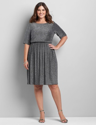 Lane Bryant Metallic Elbow-Sleeve Fit & Flare Dress