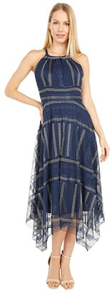 Vince Camuto Embroidered Mesh Halter Midi w/ Handkerchief Hem (Navy Multi) Women's Dress