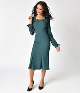 stop staring 1940s style forest green michealina dress
