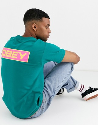 Obey Depot 2 t-shirt with backprint in teal-Blue