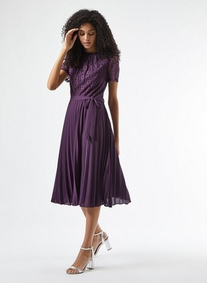 Dorothy Perkins Womens Berry Lace Pleated Dress