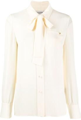 Valentino V hardware pussy bow blouse