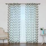 "Best Home Fashion Faux Sheer Gauzy Linen Chevron Print Curtains – Rod Pocket – Grey – 52""W x 84""L – (Set of 2 Panels)"