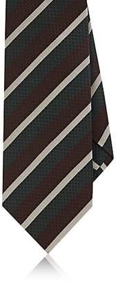 Isaia Men's Repp-Striped Silk Necktie - Brown