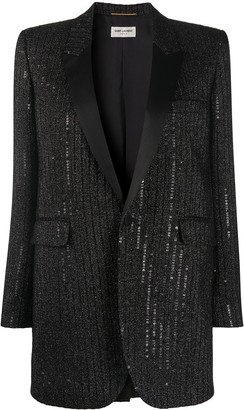 Saint Laurent Sequin-Embellished Tuxedo Jacket