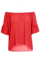 Quiz Orange Frill Sleeve Bardot Top