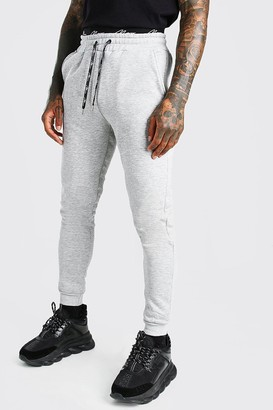 boohoo Mens Grey Skinny MAN Signature Double Waistband Joggers, Grey