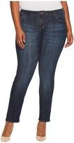KUT from the Kloth Plus Size Catherine Boyfriend Five-Pocket in Enticement/Dark Stone Base Wash Women's Jeans