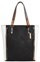 Cesca Women's Faux Leather Oversized Color Block Tote With Front Zipper Pockets