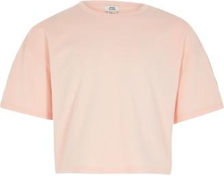 River Island Girls Pink RI taping short sleeve crop tee