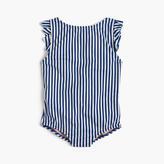 J.Crew Girls' ruffle cap-sleeve one-piece swimsuit in stripe