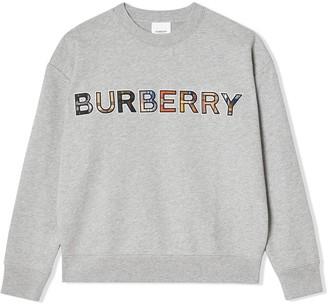 BURBERRY KIDS TEEN check logo sweatshirt
