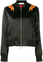 Paco Rabanne embroidered flame bomber jacket - women - Polyamide/Polyester/Spandex/Elastane - 38