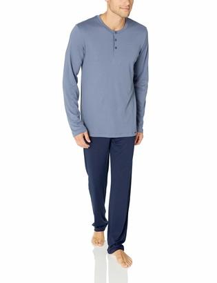 Hanro Men's Narius Long Sleeve Henley Pajama Set
