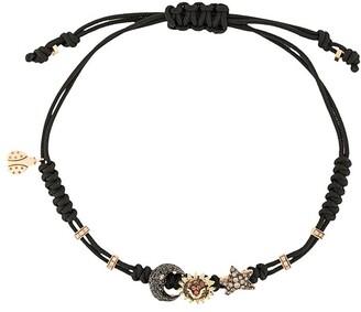 Pippo Perez 18kt black gold, diamond and sapphire 3 charm bracelet