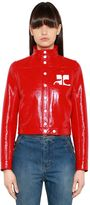 Courreges Logo Faux Patent Leather Jacket