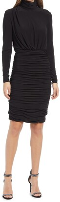 Eliza J Ruched Mock Neck Long Sleeve Dress
