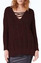 Michael Stars Women's Lace-Up Neck Open Work Tunic Sweater