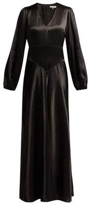 Ganni Cameron Polka-dot Satin Maxi Dress - Womens - Black
