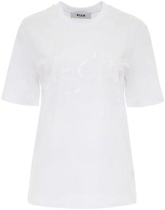 MSGM Sequinned Logo Crewneck T-Shirt