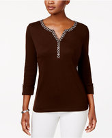 Karen Scott Cotton Roll-Tab Henley Top, Created for Macy's